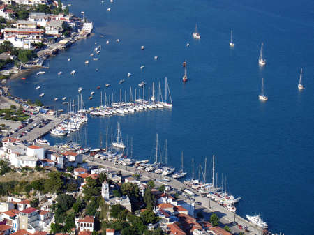 Aerial view of the port of Skiathos, Greece                                Stock Photo