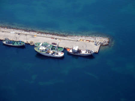 Aerial view of docked fishing boats