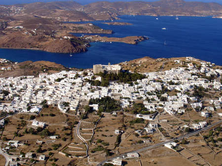 Aerial view of Patmos island in Greece