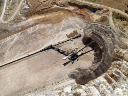 Aerial view of a coal mine transfer belt