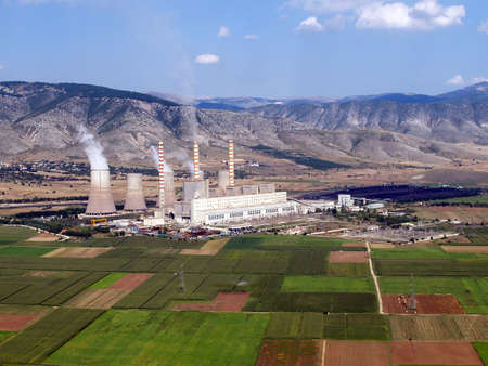 Aerial view of a fossil fuel power plant Stock Photo - 3809621