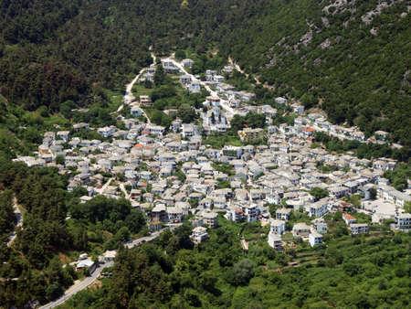 Aerial view of mountainous Greek village.