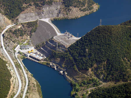 Aerial view of river dam Stock Photo