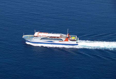 Aerial view of sea ferry boat