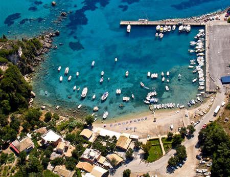 Paleokastritsa port in Corfu, aerial view photo