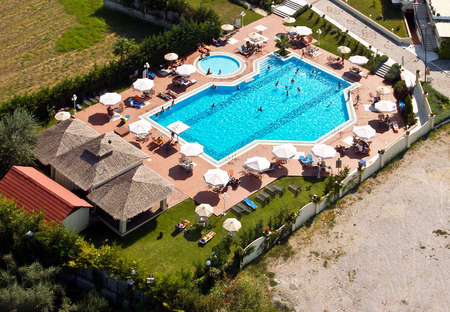 Swimming pool, aerial view Stock Photo