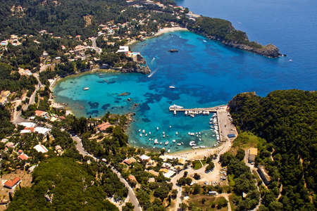 Paleokastritsa bay in Corfu, aerial view. Stock Photo
