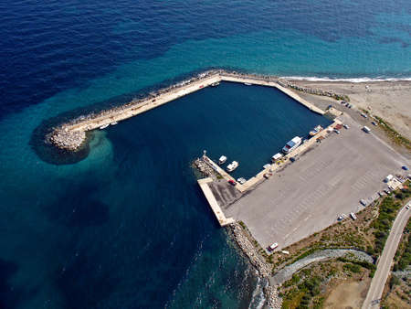 Small port in aegean island, aerial view Stock Photo