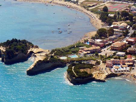 Sidari, Corfu, Greece, aerial view of beach and cliffs