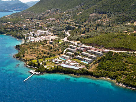 Resorts at east Lefkas, Greece, aerial view.