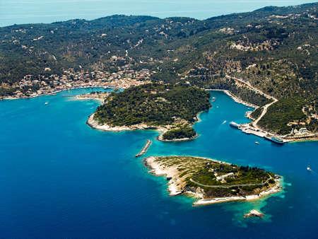 Gaios, Paxi island, Greece, aerial view