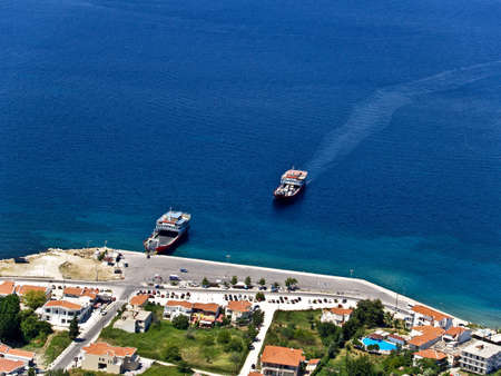 Ferryboats in Greek islands port, aerial view Stock Photo
