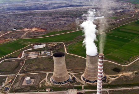 Power plant and coal mine, aerial view