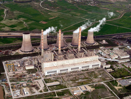 Power plant aerial view photo