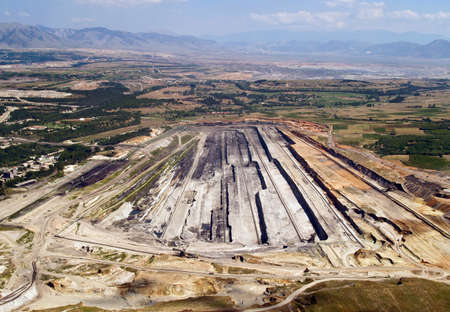 Surface coal mine, aerial view Stock Photo