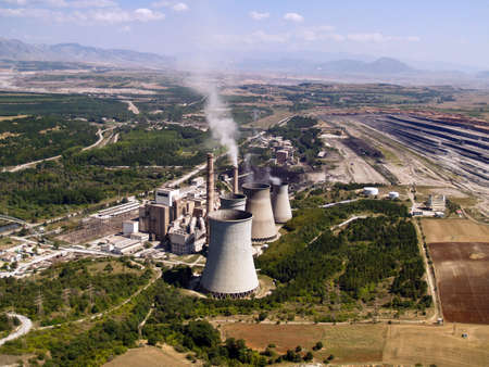 Power plant and surface mine aerial view Stock Photo - 4349883