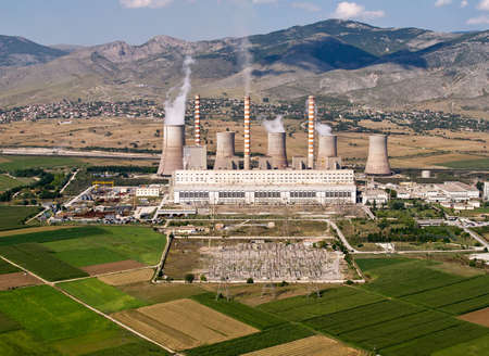 Fossil fuel power plant, aerial view photo