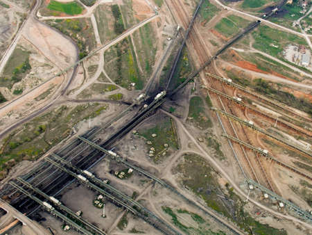 Coal transfer lines, aerial view Stock Photo