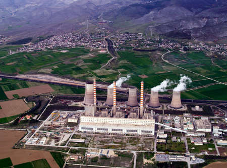 Fossil fuel power plant, aerial view Stock Photo - 4374274