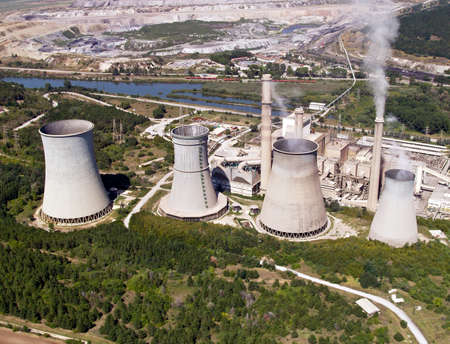 Cooling towers, aerial view photo