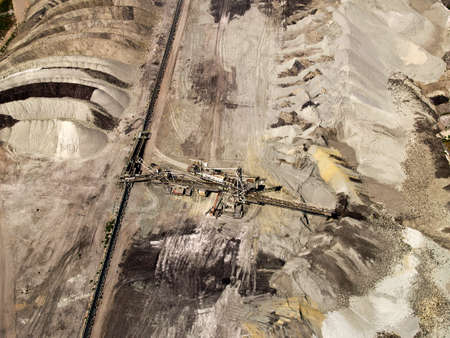 Dust deposition in coal mine, aerial view