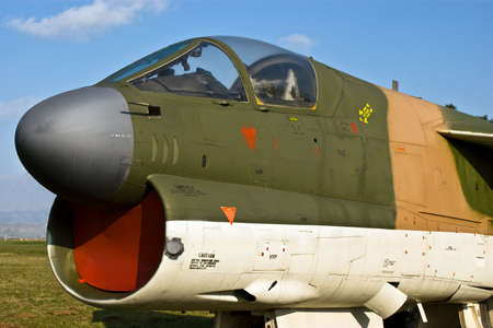 Front of modern military bomber aircraft.
