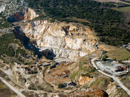 Abandoned stone quarry, aerial view