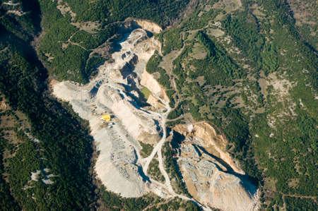 Stone quarry, aerial view.
