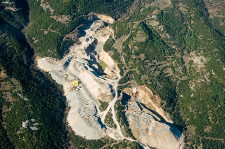 Stone quarry, aerial view.