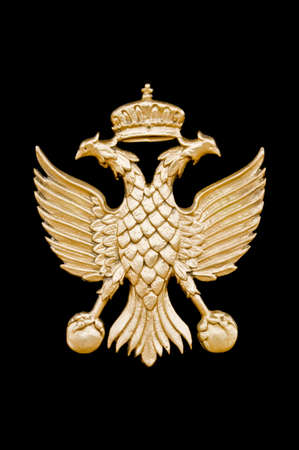Golden two-headed eagle in black background.