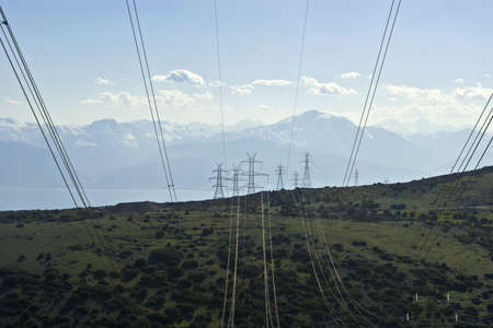 High voltage power lines and towers. Stock Photo