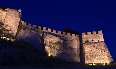 Nafpaktos venetian castle illuminated at night.
