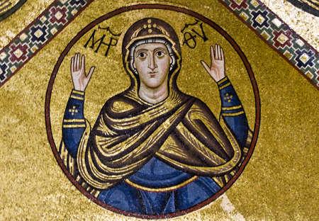 Virgin Mary, 11th century mosaic, Greece.