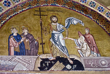 Resurrection of Jesus, 11th century mosaic, Greece