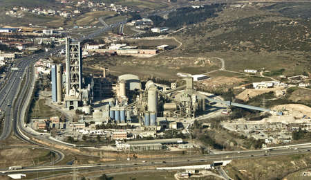 Cement factory, aerial view