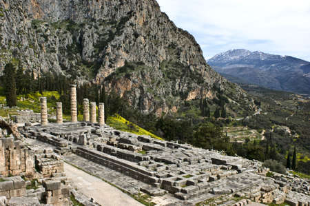 Temple of Apollo ruins in Delphi, Greece