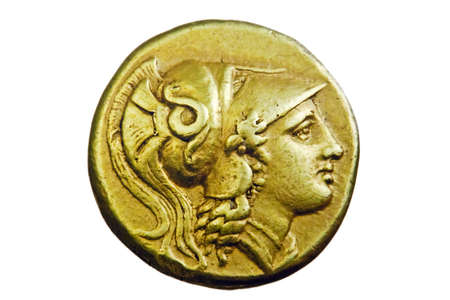 Ancient Greek gold coin, Alexander the Great, 3rd century BC Stock Photo