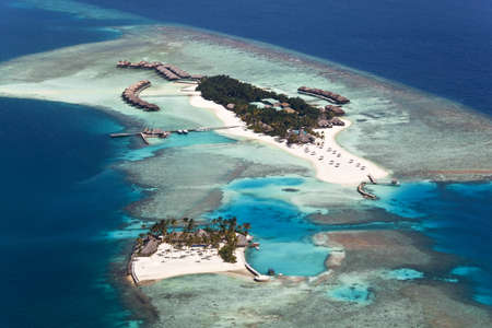 Aerial view of Veligandu Island, Alifu Atoll, Maldives