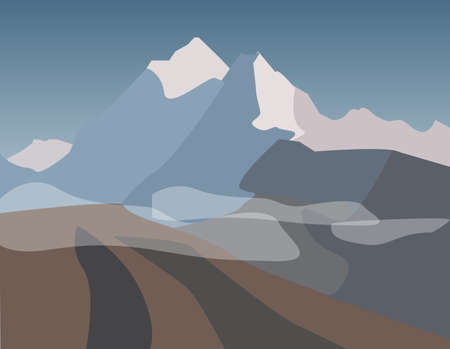 landscape of mountains at sunset Illustration