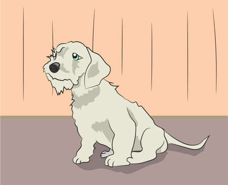 dog sitting in a room vector illustration Stock Illustratie