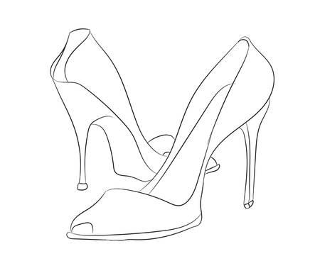 Ilustración de vector de líneas de zapatos