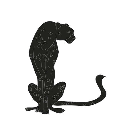 cheetah sitting drawing silhouette vector illustration Ilustracja