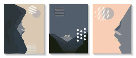 Cover templates are set with graphic geometric elements with images of mountains. It is used for posters, brochures, posters, covers and banners. Vector illustration.