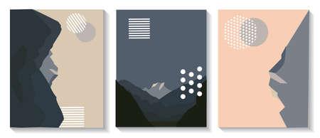 Cover-Vorlagen sind mit grafischen geometrischen Elementen mit Bildern von Bergen ausgestattet. Es wird für Poster, Broschüren, Poster, Cover und Banner verwendet. Vektor-Illustration.