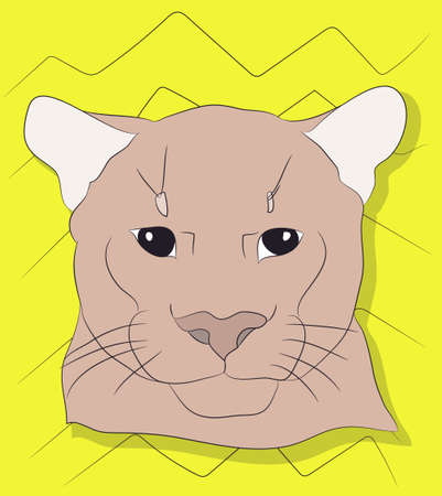 portrait of a cougar looking at wall vector background