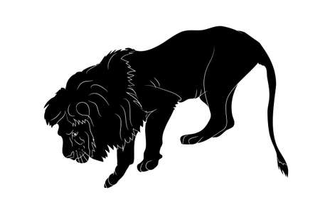 vector illustration of a lion who stands, silhouette vector, white background