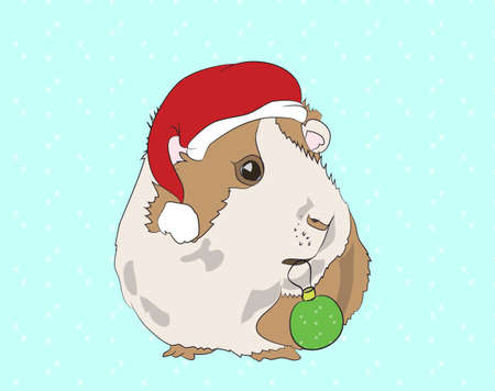 Vector illustration, New Year's guinea pigs in Christmas clothes, can be used as a greeting card, vector, snow background