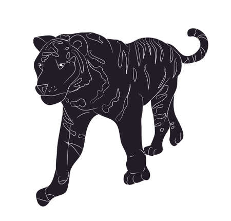 vector illustration of a tiger that stands, drawing silhouette, vector, white background Vektorgrafik