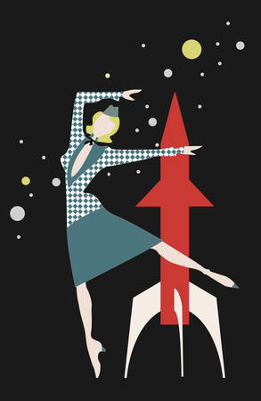 vintage card with space, with rocket and stewardess, vector, can be used as postcard Foto de archivo - 129013682