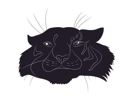 vector illustration portrait tiger drawing silhouette, vector, white background Illustration